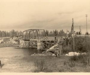 Tilta atjaunošana pēc kara Ļaudonā